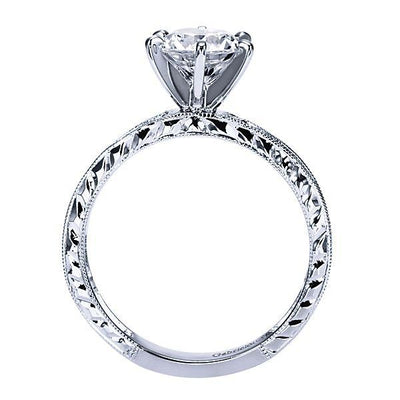 DIAMOND ENGAGEMENT RINGS - 1.40cttw Channel Set Round Diamond Engagement Ring With Milgrain Finish And Engraved Shank