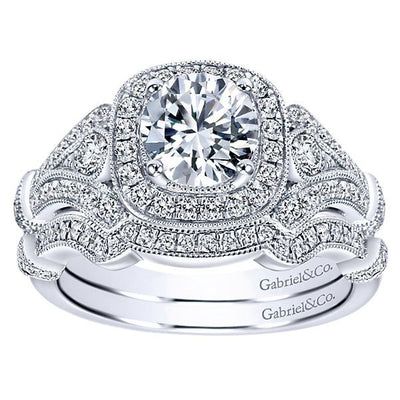 DIAMOND ENGAGEMENT RINGS - 1.42cttw Vintage Style Halo Diamond Engagement Ring