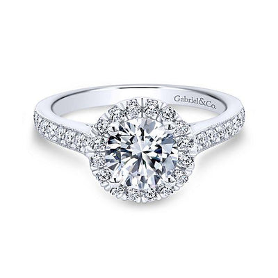 DIAMOND ENGAGEMENT RINGS - 1.47cttw Round Halo Diamond Engagement Ring With Bead Set Side Diamonds