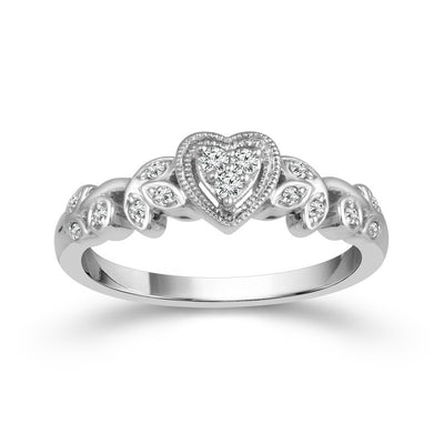 DIAMOND ENGAGEMENT RINGS - 10K White Gold Heart Shaped Cluster Promise Ring With Floral Design