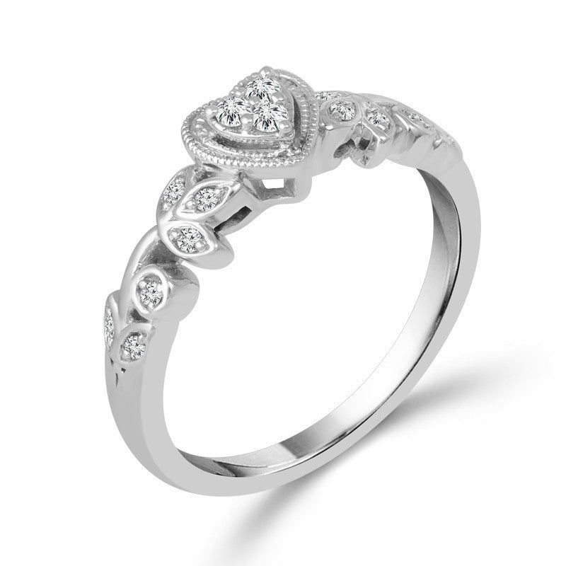 10K White Gold Heart Shaped Cluster Promise Ring with Floral