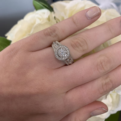 10K White Gold Round Halo Engagement Set with Composite Center and Ornate Shank