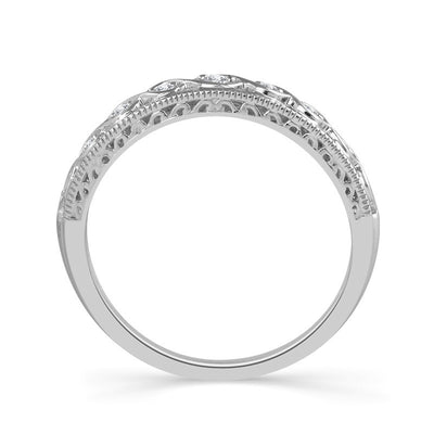 DIAMOND ENGAGEMENT RINGS - 10K White Gold Round Halo Engagement Set With Composite Center And Ornate Shank