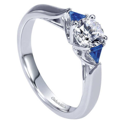 DIAMOND ENGAGEMENT RINGS - 14K 1/2ct Round Diamond Engagement Ring With Trillion Sapphires