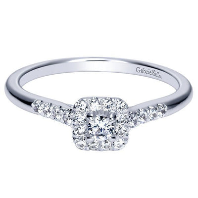DIAMOND ENGAGEMENT RINGS - 14k 1/3cttw Petite Halo Diamond Engagement Ring