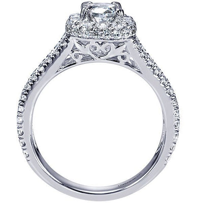 DIAMOND ENGAGEMENT RINGS - 14K 1.68cttw Cushion Shaped Halo Split Shank Diamond Engagement Ring