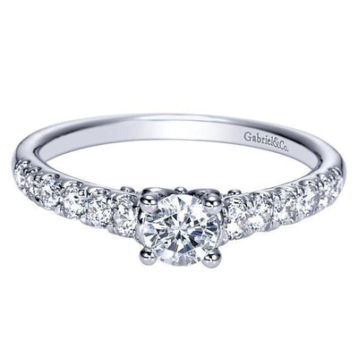 DIAMOND ENGAGEMENT RINGS - 14K 3/4cttw Pave Round Diamond Engagement Ring