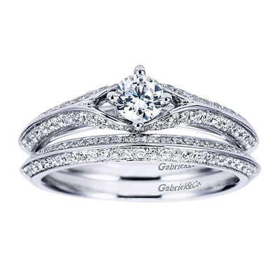DIAMOND ENGAGEMENT RINGS - 14K .60cttw Art Deco Style Round Diamond Engagement Ring