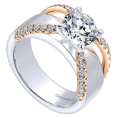 14K Rose and White Gold Unique Round Diamond Engagement Ring