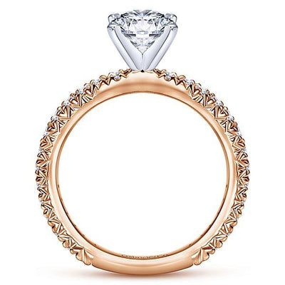 DIAMOND ENGAGEMENT RINGS - 14K Rose Gold 1.40cttw Pave Diamond Engagement Ring