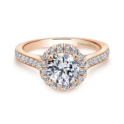DIAMOND ENGAGEMENT RINGS - 14K Rose Gold 1.47cttw Round Halo Diamond Engagement Ring With Bead Set Side Diamonds