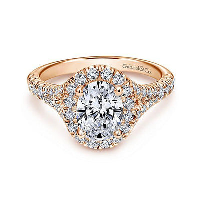 DIAMOND ENGAGEMENT RINGS - 14K Rose Gold 1.71cttw Oval Halo Diamond Engagement Ring With Subtle Split Shank