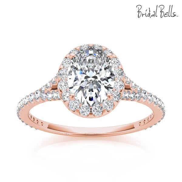 diamond engagement rings 14k rose gold 2cttw oval shaped halo diamond engagement ring - Rose Wedding Rings