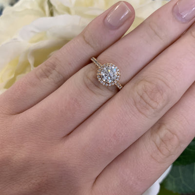 DIAMOND ENGAGEMENT RINGS - 14K Rose Gold .95cttw Round Halo Diamond Engagement Ring