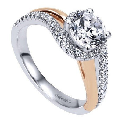 DIAMOND ENGAGEMENT RINGS - 14k Two-Tone Gold 1.30cttw Bypass Style Rose And White Gold Round Diamond Engagement Ring