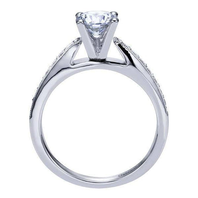 DIAMOND ENGAGEMENT RINGS - 14K White Gold 1.00cttw Classic Bead Set Round Diamond Engagement Ring