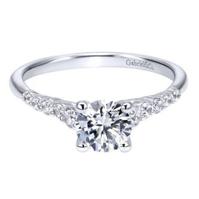 DIAMOND ENGAGEMENT RINGS - 14K White Gold 1.01cttw Pave Set Graduated 11-Stone Round Diamond Engagement Ring