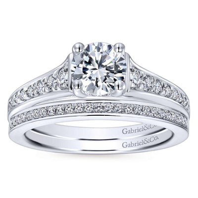 DIAMOND ENGAGEMENT RINGS - 14K White Gold 1.02cttw Clean Tapered Round Diamond Engagement Ring