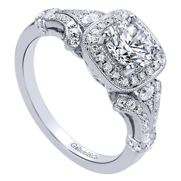 Engagement Rings Vintage Style: 14K White Gold 1.04cttw Vintage Style Halo Diamond