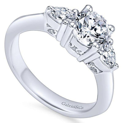 DIAMOND ENGAGEMENT RINGS - 14K White Gold 1.05cttw Pear Shaped 3-Stone Diamond Engagement Ring With Point Edge