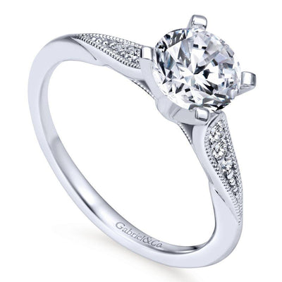 DIAMOND ENGAGEMENT RINGS - 14K White Gold 1.08cttw Classic Milgrain Round Diamond Engagement Ring
