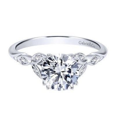 DIAMOND ENGAGEMENT RINGS - 14K White Gold 1.08cttw Floral Style Round Diamond Engagement Ring