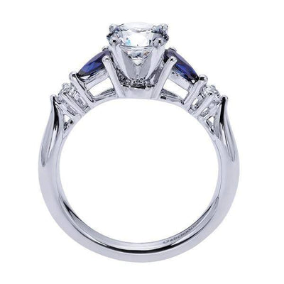 DIAMOND ENGAGEMENT RINGS - 14K White Gold 1.10cttw Pear Shaped Blue Sapphire And Diamond Engagement Ring