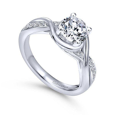 DIAMOND ENGAGEMENT RINGS - 14K White Gold 1.10cttw Wrapped Crossover Diamond Engagement Ring