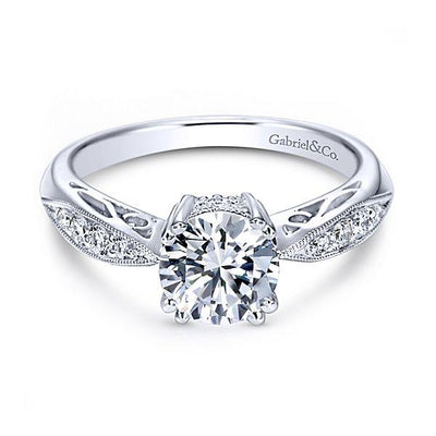 DIAMOND ENGAGEMENT RINGS - 14K White Gold 1.12cttw Bead Set Engagement Ring With Double Claw Prong Head