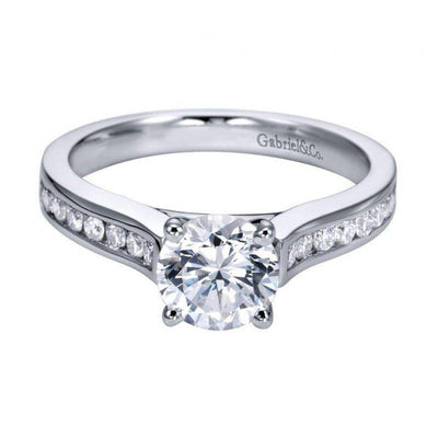 DIAMOND ENGAGEMENT RINGS - 14K White Gold 1.14cttw Classic Channel Set Round Diamond Engagement Ring
