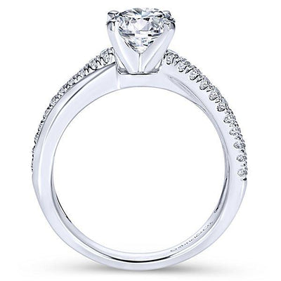 DIAMOND ENGAGEMENT RINGS - 14K White Gold 1.19cttw Classic Crossover Diamond Engagement Ring