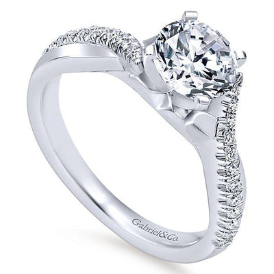 DIAMOND ENGAGEMENT RINGS - 14K White Gold 1.19cttw Crossover Diamond Engagement Ring