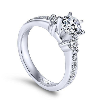 DIAMOND ENGAGEMENT RINGS - 14K White Gold 1.20cttw 3-Stone Plus Round Diamond Engagement Ring
