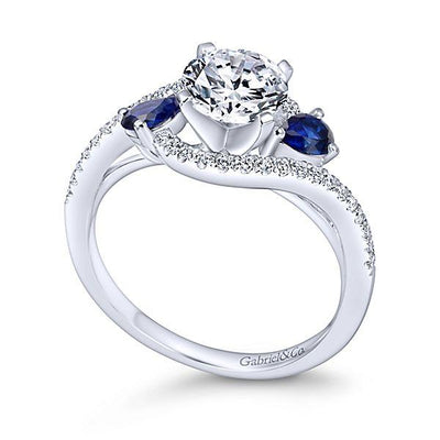DIAMOND ENGAGEMENT RINGS - 14K White Gold 1.20cttw Bypass Style Round Diamond Engagement Ring With Side Sapphires
