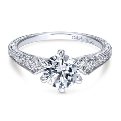 DIAMOND ENGAGEMENT RINGS - 14K White Gold 1.22cttw Pointed Vintage Shank Round Diamond Engagement Ring