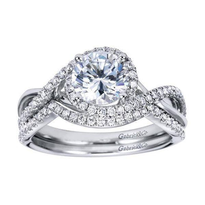 DIAMOND ENGAGEMENT RINGS - 14k White Gold 1.24cttw Criss-Crossed Round Diamond Engagement Ring