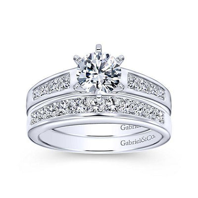 DIAMOND ENGAGEMENT RINGS - 14K White Gold 1.25cttw Princess Cut Channel Set Cathedral Diamond Engagement Ring