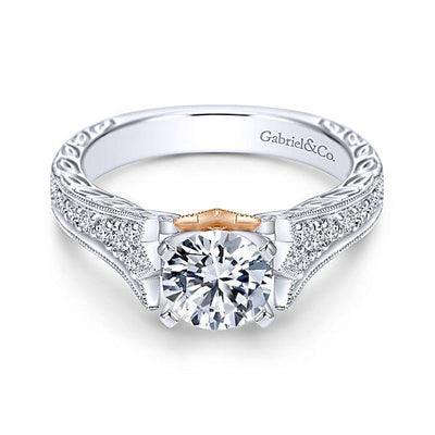 DIAMOND ENGAGEMENT RINGS - 14K White Gold 1.27cttw Bead Set Vintage Diamond Engagement Ring With Rose Gold Accent And Engraved Shank