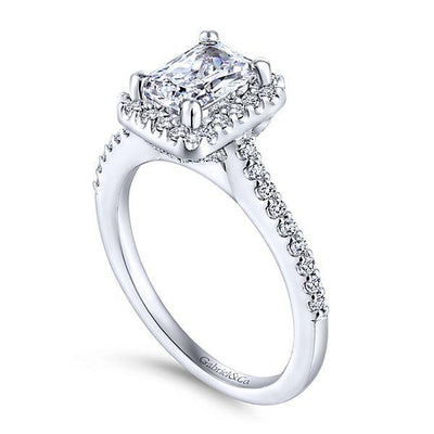 DIAMOND ENGAGEMENT RINGS - 14K White Gold 1.28cttw Emerald Cut Halo Diamond Engagement Ring