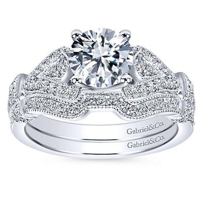 DIAMOND ENGAGEMENT RINGS - 14K White Gold 1.28cttw Vintage Pave Diamond Engagement Ring