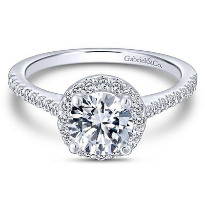 DIAMOND ENGAGEMENT RINGS - 14K White Gold 1.29cttw Classic Pave Halo Round Diamond Engagement Ring