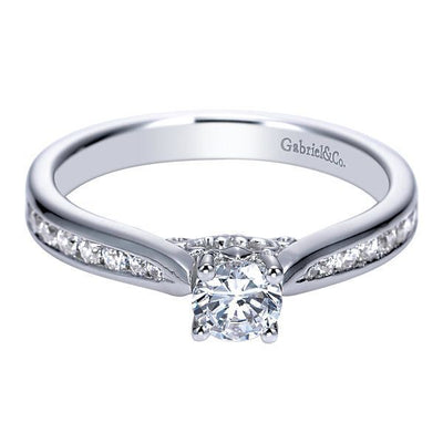 DIAMOND ENGAGEMENT RINGS - 14k White Gold 1/2cttw Channel Set Round Diamond Engagement Ring