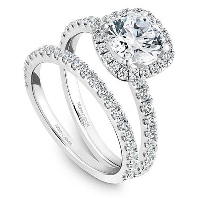 14K White Gold 1/2cttw Pave Cushion Halo Diamond Engagement Ring
