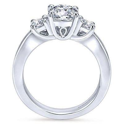 DIAMOND ENGAGEMENT RINGS - 14K White Gold 1.30cttw Classic 3-Stone Trellis Round Diamond Engagement Ring