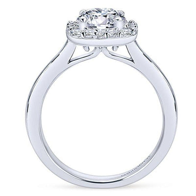 DIAMOND ENGAGEMENT RINGS - 14K White Gold 1.30cttw Cushion Shaped Halo Diamond Engagement Ring With Polished Shank