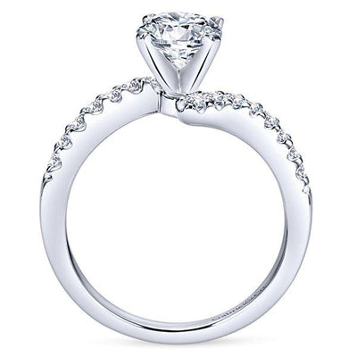 DIAMOND ENGAGEMENT RINGS - 14K White Gold 1.30cttw Prong Set Bypass Style Round Diamond Engagement Ring