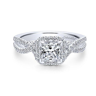 DIAMOND ENGAGEMENT RINGS - 14K White Gold 1.33cttw Princess Cut Halo Diamond Engagement Ring With Crossover Shank