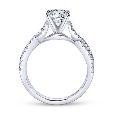DIAMOND ENGAGEMENT RINGS - 14K White Gold 1.37cttw Crossover Diamond Engagement Ring
