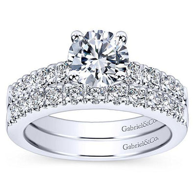 DIAMOND ENGAGEMENT RINGS - 14K White Gold 1.40cttw Pave Round Diamond Engagement Ring