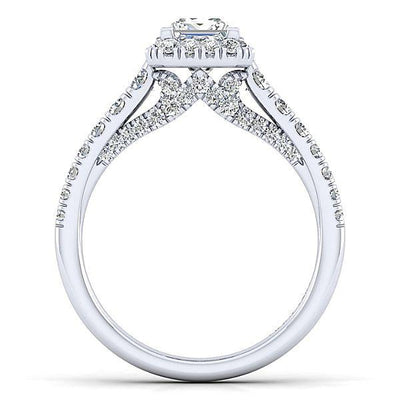 DIAMOND ENGAGEMENT RINGS - 14K White Gold 1.43cttw Princess Cut Halo Diamond Engagement Ring